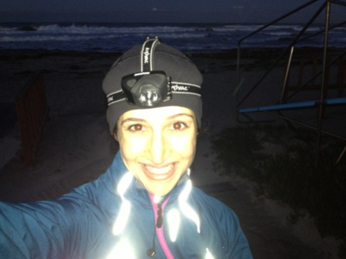 Early morning running. I got my headlamp from Home Depot.