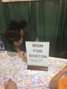Signing this last year at Eugene Marathon as a tribute to Boston 2013. We heart Boston.