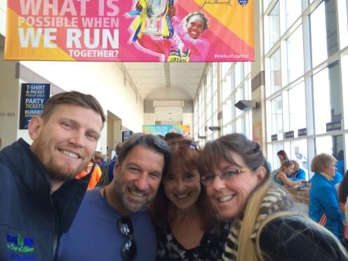 Jeremy, my Dad, my mom, Jeremy's mom. Aka my Boston Marathon support crew!