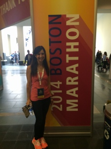 Boston marathon expo, looking official with my Runner Passport. (Apparently wearing it around your neck is the thing to do on race weekend.)